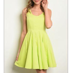 Lime green lines skater mini dress, So CUTE!